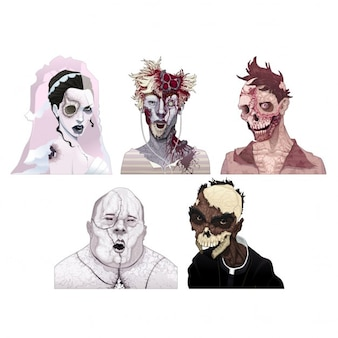 Zombie retratos horror isolado caracteres