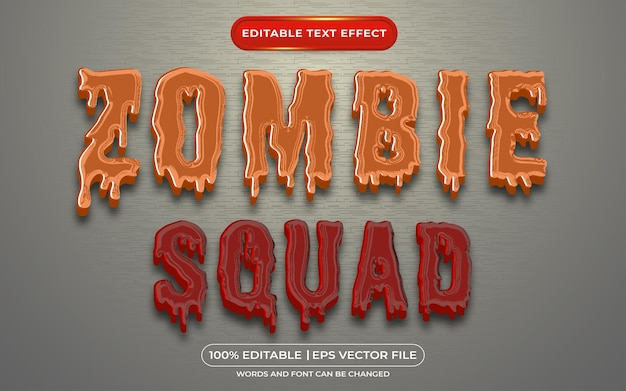 Zombie squad editável efeito de texto estilo de texto de sangue