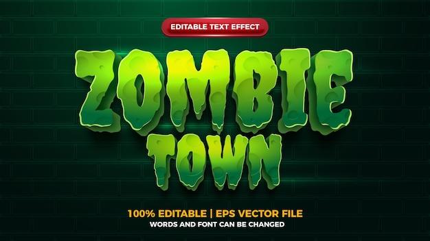 Zombie town 3d editbale efeito de texto