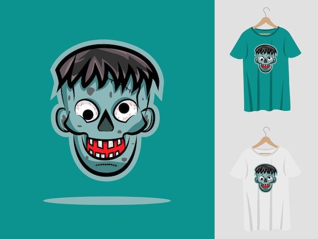Zombies halloween mascote desenho com t-shirt.