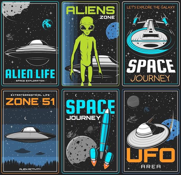 Zona alienígena, banners retrô de viagem espacial de ovnis.