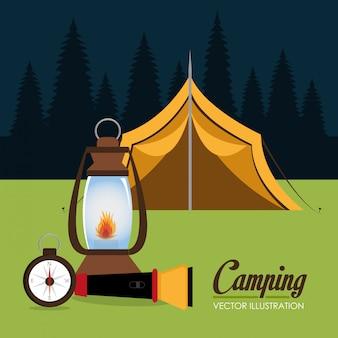 Zona de acampamento com cena da barraca