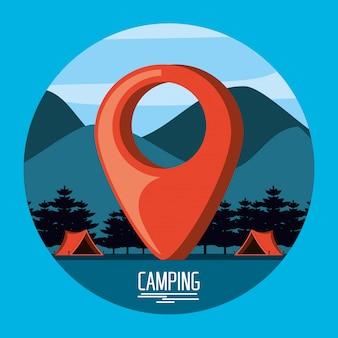 Zona de acampamento com tendas e localização de ponteiro de pinos