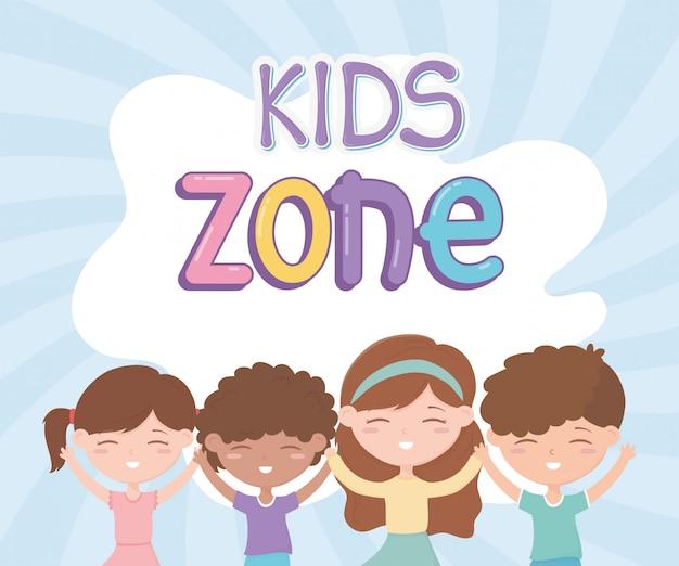 Zona de crianças, bonitos meninas e meninos felizes personagens de desenhos animados