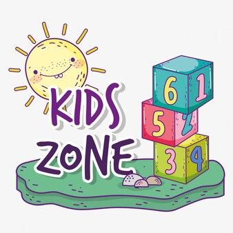 Zona de crianças com jogo de cubos e sol