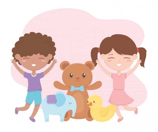 Zona de crianças, feliz menino e menina ursinho pato e elefante brinquedos