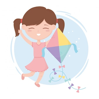 Zona de crianças, menina bonitinha brincando com seus brinquedos de pipa