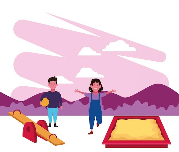 Zona de crianças, menino e menina jogando gangorra sanbox e playground de bola