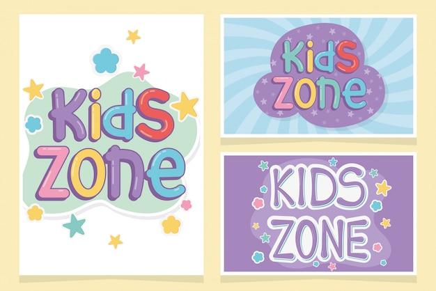 Zona de crianças, modelo de design criativo de inscrições coloridas