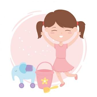 Zona de crianças, pá de balde menina bonitinha e elefante com brinquedos de rodas