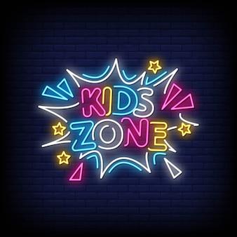 Zona de crianças sinais de néon estilo texto