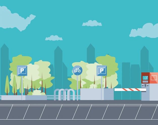 Zona de estacionamento com ilustração de cena de máquina de bilhete e barricada