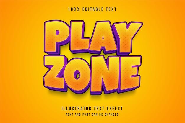 Zona de jogo, efeito de texto editável em 3d com gradação amarela e roxo estilo de texto em quadrinhos
