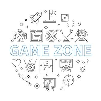 Zona de jogo redonda ilustração de contorno