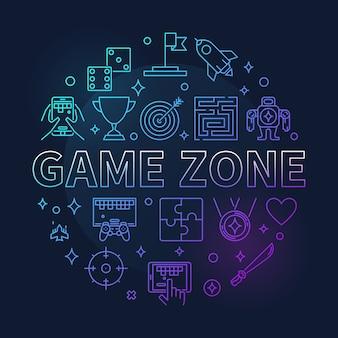Zona de jogo rodada coled ilustração de linha fina