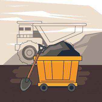 Zona de mineração e ferramentas