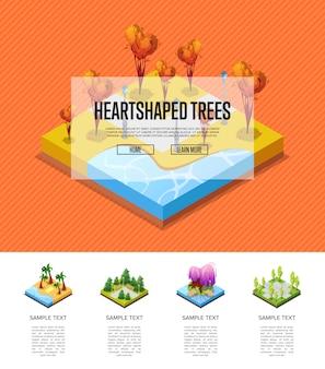 Zona de parque com infográficos de árvores em forma de coração