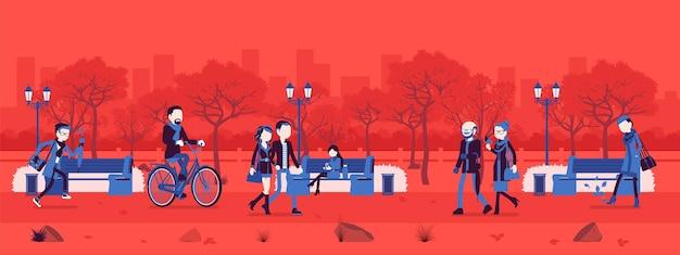 Zona de parque no outono com pessoas