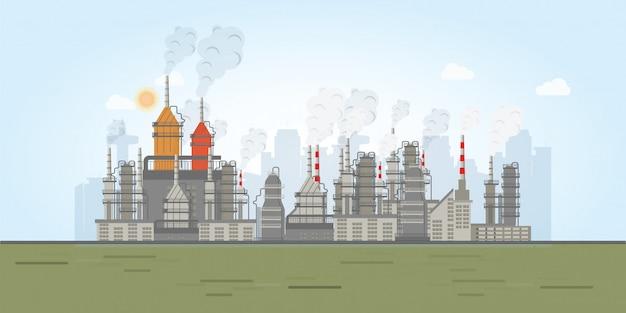 Zona industrial com fábricas.