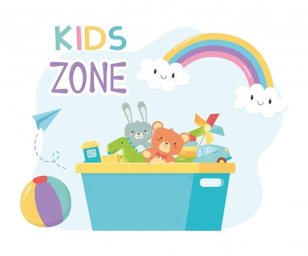 Zona infantil, balde de plástico cheio com armazenamento de brinquedos