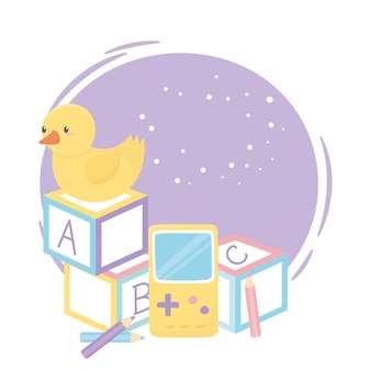 Zona infantil, blocos de alfabeto, pato, videogame e brinquedos