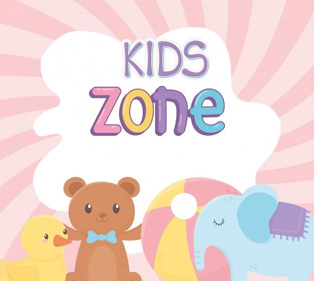 Zona infantil, bola de pato de pelúcia e brinquedos de elefante