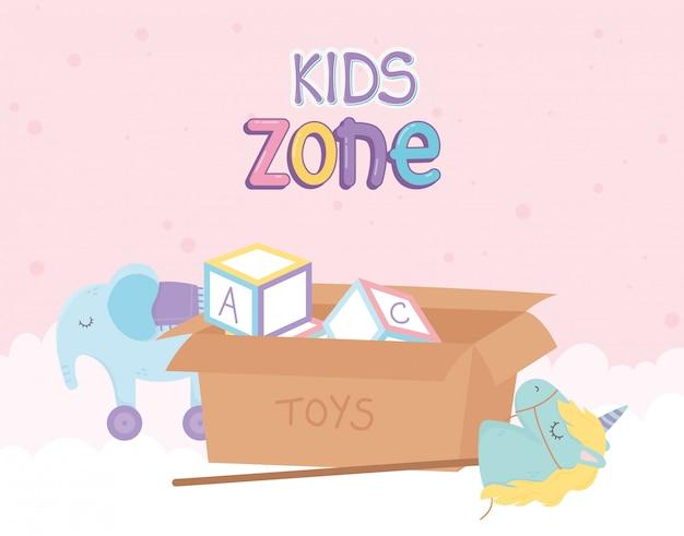 Zona infantil, caixa com blocos de alfabeto elefante unicórnio com brinquedos de rodas