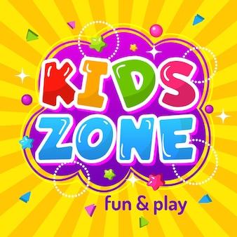 Zona infantil. cartaz promocional colorido área de jogo emblema infantil feliz para o modelo de playground.