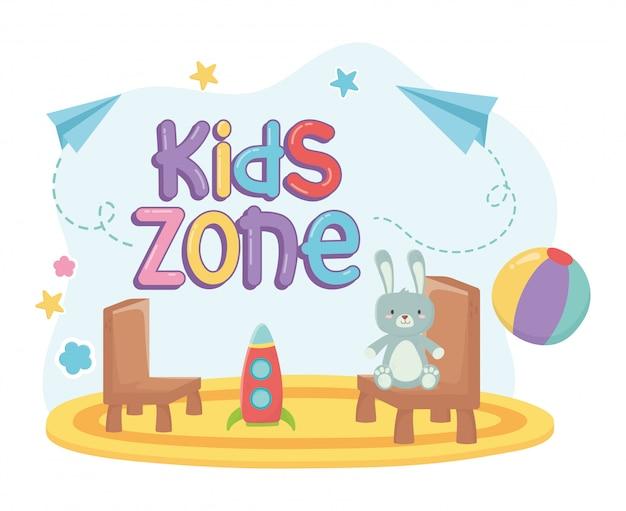 Zona infantil, coelho peludo e plástico cadeiras foguete tapete brinquedos