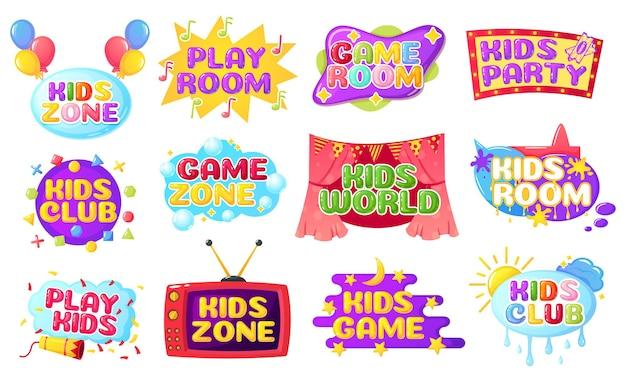 Zona infantil desenhos animados crianças etiqueta decoração banner colorido com bolhas salpicos de tinta balões