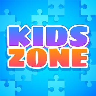 Zona infantil. logotipo colorido do parque, da sala de jogos ou da área de jogos. parque infantil para crianças com emblema ou autocolante roxo e laranja com texto em azul e quebra-cabeças. fundo brilhante do vetor