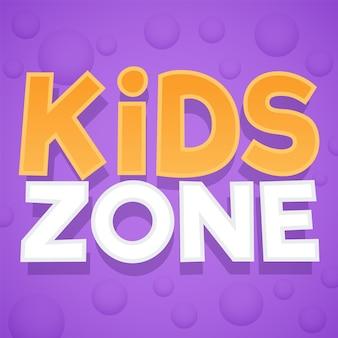 Zona infantil. logotipo colorido do parque, da sala de jogos ou da área de jogos. parque infantil para crianças, emblema ou autocolante roxo com texto em amarelo e branco e bolhas. fundo brilhante do vetor