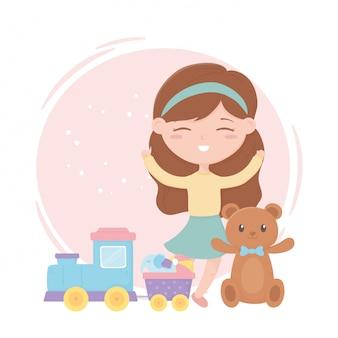 Zona infantil, menina bonitinha brinquedos urso de pelúcia trem elefante