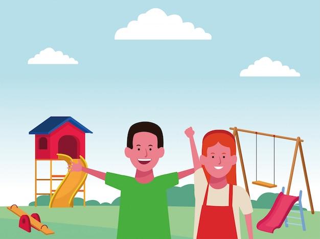 Zona infantil, menino e menina felizes com playground e gangorra de balanço