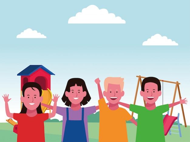 Zona infantil, meninos e meninas felizes com escorregador e gangorra