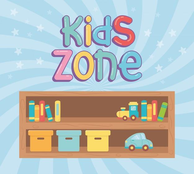 Zona infantil, prateleira de madeira com caixas de livros e brinquedos