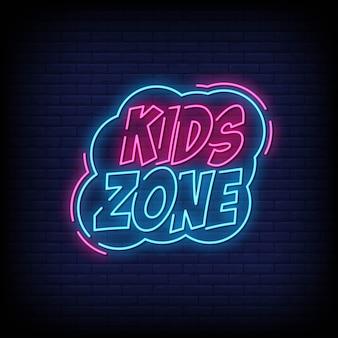 Zona infantil, sinais de néon, estilo, texto