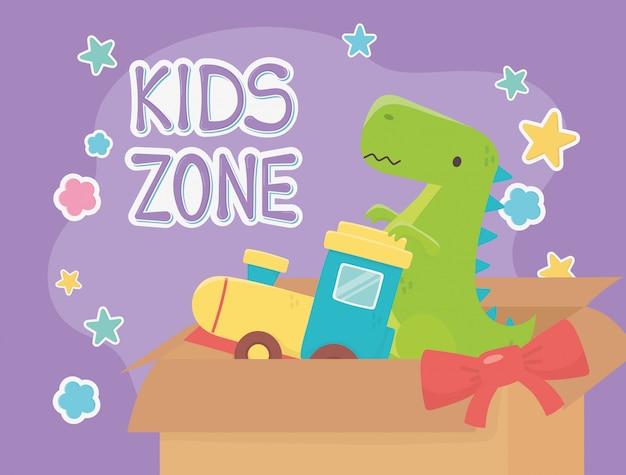 Zona infantil, trem cheio de caixas e brinquedos de dinossauro verde