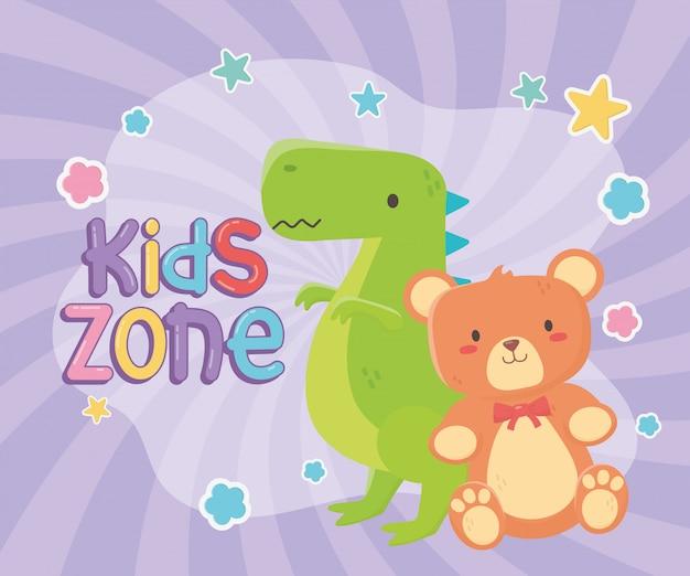 Zona infantil, ursinho de pelúcia e brinquedos de dinossauro verde