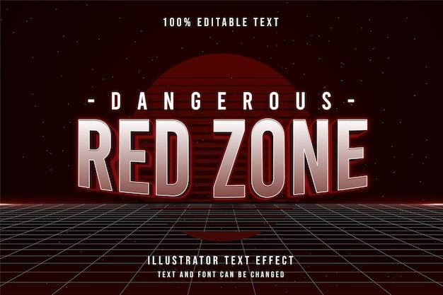 Zona vermelha perigosa, efeito de texto editável em 3d gradação vermelha estilo de texto sombra neon dos anos 80