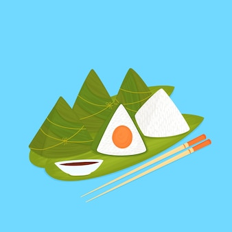 Zongzi. bolinhos de arroz chinês embrulhados em folhas de bambu.