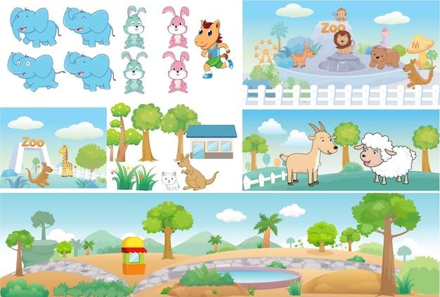 Zoo e animal bonito dos desenhos animados