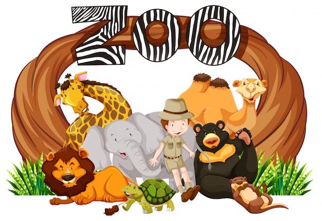 Zookeeper e animais selvagens na entrada do zoológico