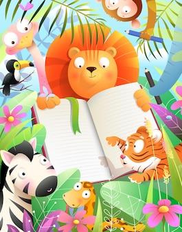 Zoológico africano de bebês para crianças escola montessori estudando para escrever desenho ou lendo um livro na selva