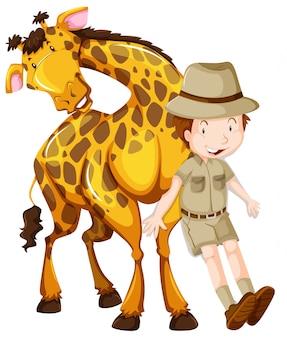 Zoologista e girafa selvagem