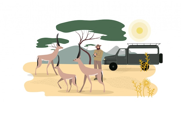Zoólogo explorando a fauna africana