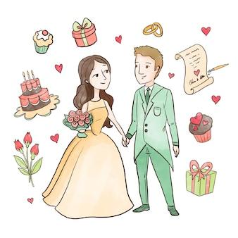 Zoom casal de noivos dos desenhos animados