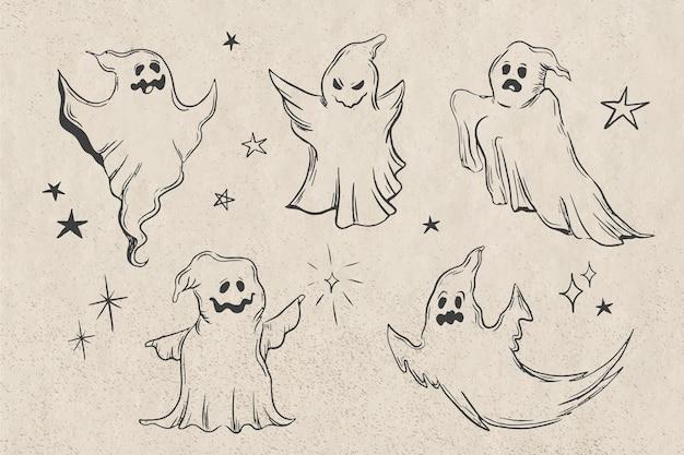 Zoom de coleção de fantasmas de halloween desenhado à mão