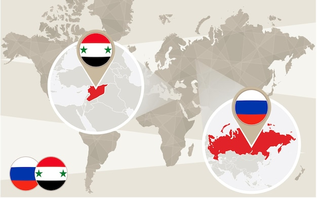 Zoom do mapa mundial na síria, rússia. conflito. ilustração vetorial.