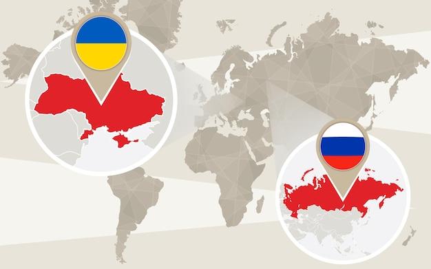 Zoom do mapa mundial na ucrânia, rússia. ilustração vetorial.
